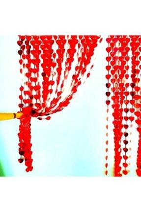 Süsle Baby Party Metalize Kalpli Kapı ve Fon Perdesi, 1 x 1,8 mt - Kırmızı 3