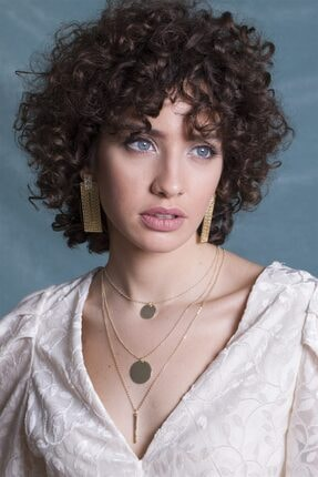Sortie Aksesuar Kadın Altın Rengi Daire Ve Çubuk Detaylı Kombin Kolye 062 1