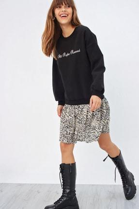 Ecrou Kadın Siyah Altı Fırfırlı Penye Sweat Elbise 2