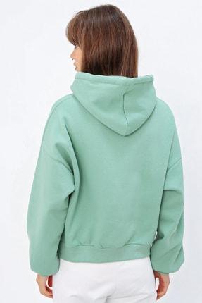 Ecrou Kadın Mint Login Kapşonlu Oversize Sweatshirt 3