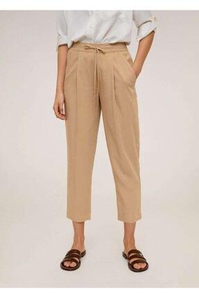 Mango Kadın Orta Kahverengi Bağcıklı Takım Pantolon 67056705 1
