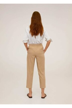 Mango Kadın Orta Kahverengi Bağcıklı Takım Pantolon 67056705 2