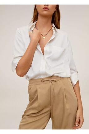 Mango Kadın Orta Kahverengi Bağcıklı Takım Pantolon 67056705 4