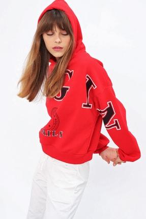 Ecrou Kadın Kırmızı Login Kapüşonlu Oversize Sweatshirt 1