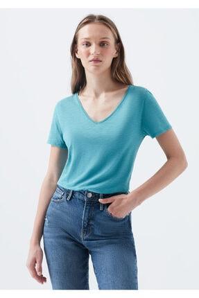 Mavi V Yaka Mavi Basic Tişört 0