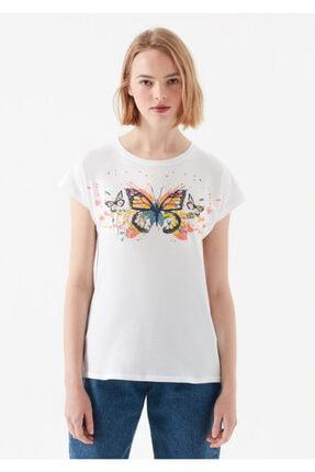 Mavi Kelebek Baskılı Beyaz Tişört 2