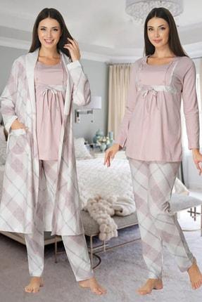 Effort Pijama Kadın Pembe Uzun Kollu Hamile Lohusa Sabahlıklı Pijama Takımı 8084 0