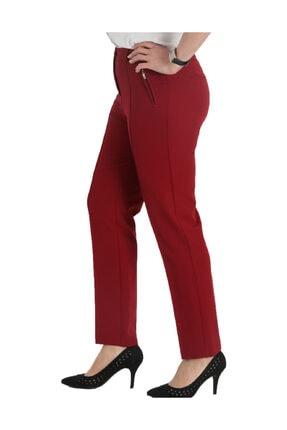Günay Kadın Bordo Kumaş Normal Bel Düz Paça Pantolon Nvr2121 1