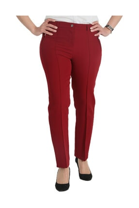 Günay Kadın Bordo Kumaş Normal Bel Düz Paça Pantolon Nvr2121 2