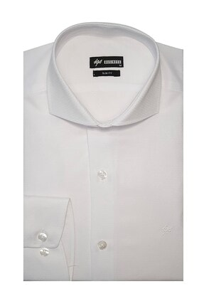 İgs Erkek Beyaz Slim Fit İtalyan Yaka Gömlek 0