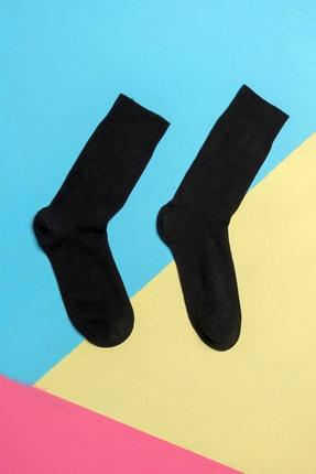 BSM Erkek Siyah Pamuklu Dikişsiz 4 Mevsim Düz Çorap 6 Lı 2
