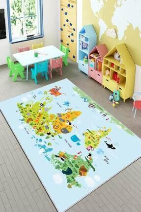 RugViva Kaymaz Tabanlı Halı Çocuk KD81 Dünya Haritası 0