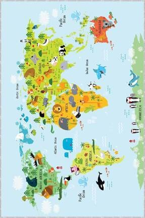 RugViva Kaymaz Tabanlı Halı Çocuk KD81 Dünya Haritası 1