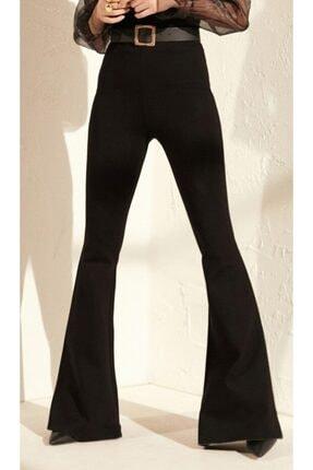 Prenses Tayt Kadın Siyah Çelik Interlok Yüksek Bel Ispanyol Paça Tayt Pantolon 402 2