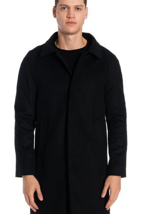 İgs Erkek Siyah Modern Fit Palto 0
