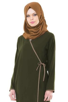 Esil Tesettür Kadın Haki Yandan Bağlamalı Namaz Elbisesi 1