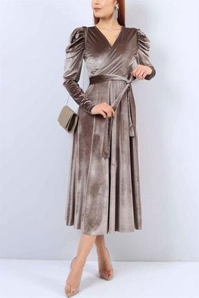 MACFLY Kadın Kahverengi Kuşaklı Midi Boy Kruvaze Yaka Kadife Elbise 0