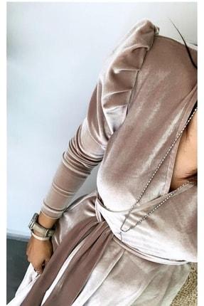 MACFLY Kadın Kahverengi Kuşaklı Midi Boy Kruvaze Yaka Kadife Elbise 1