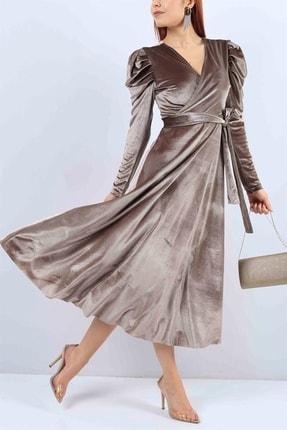 MACFLY Kadın Kahverengi Kuşaklı Midi Boy Kruvaze Yaka Kadife Elbise 2