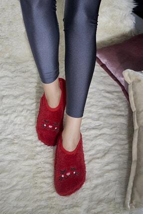 Ev Patiği Yumuşak Kedi Desenli Kırmızı Kadın Ev Terliği - Patik Peluş resmi