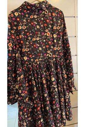 Cream&Rouge Kadın Siyah Çiçekli Elbise 0