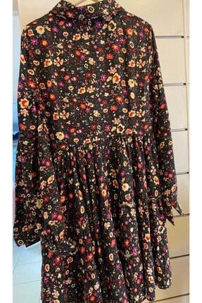 Cream&Rouge Kadın Siyah Çiçekli Elbise 1