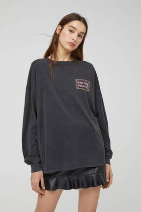 Pull & Bear Kadın Siyah Uzun Kollu Soluk Efektli Sweatshirt 0