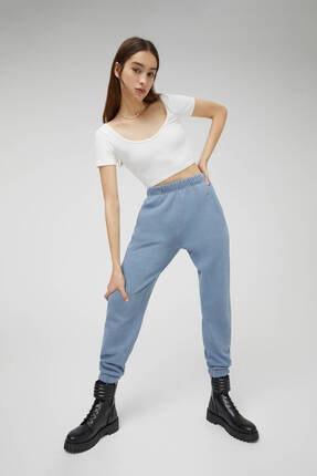 Pull & Bear Kadın  Mavi Soluk Efektli Jogging Fit Pantolon 1