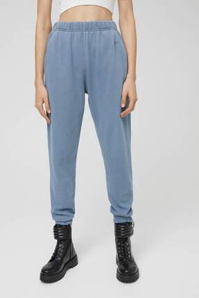 Pull & Bear Kadın  Mavi Soluk Efektli Jogging Fit Pantolon 2