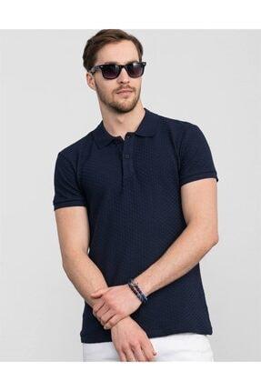 Tudors Slim Fit Kendinden Desenli Lacivert Pike T-shirt 0