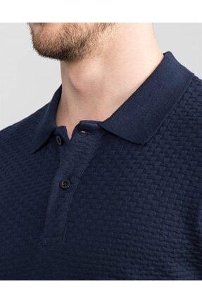 Tudors Slim Fit Kendinden Desenli Lacivert Pike T-shirt 3