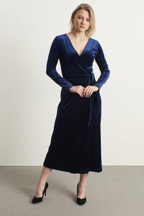 ELBİSENN Kadın Lacivert Kruvaze Yaka Kadife Elbise 0