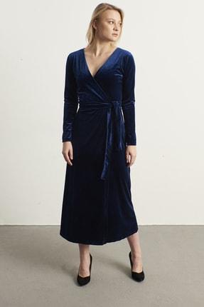 ELBİSENN Kadın Lacivert Kruvaze Yaka Kadife Elbise 1