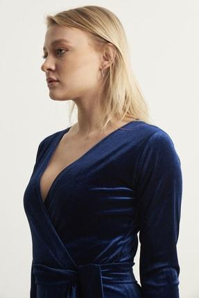 ELBİSENN Kadın Lacivert Kruvaze Yaka Kadife Elbise 4