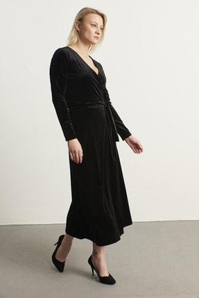 ELBİSENN Kadın Siyah Kruvaze Yaka Kadife Elbise 1