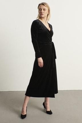ELBİSENN Kadın Siyah Kruvaze Yaka Kadife Elbise 2