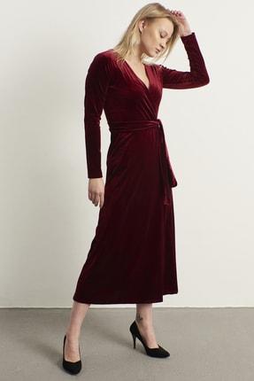 ELBİSENN Kadın Bordo Kruvaze Yaka Kadife Elbise 2
