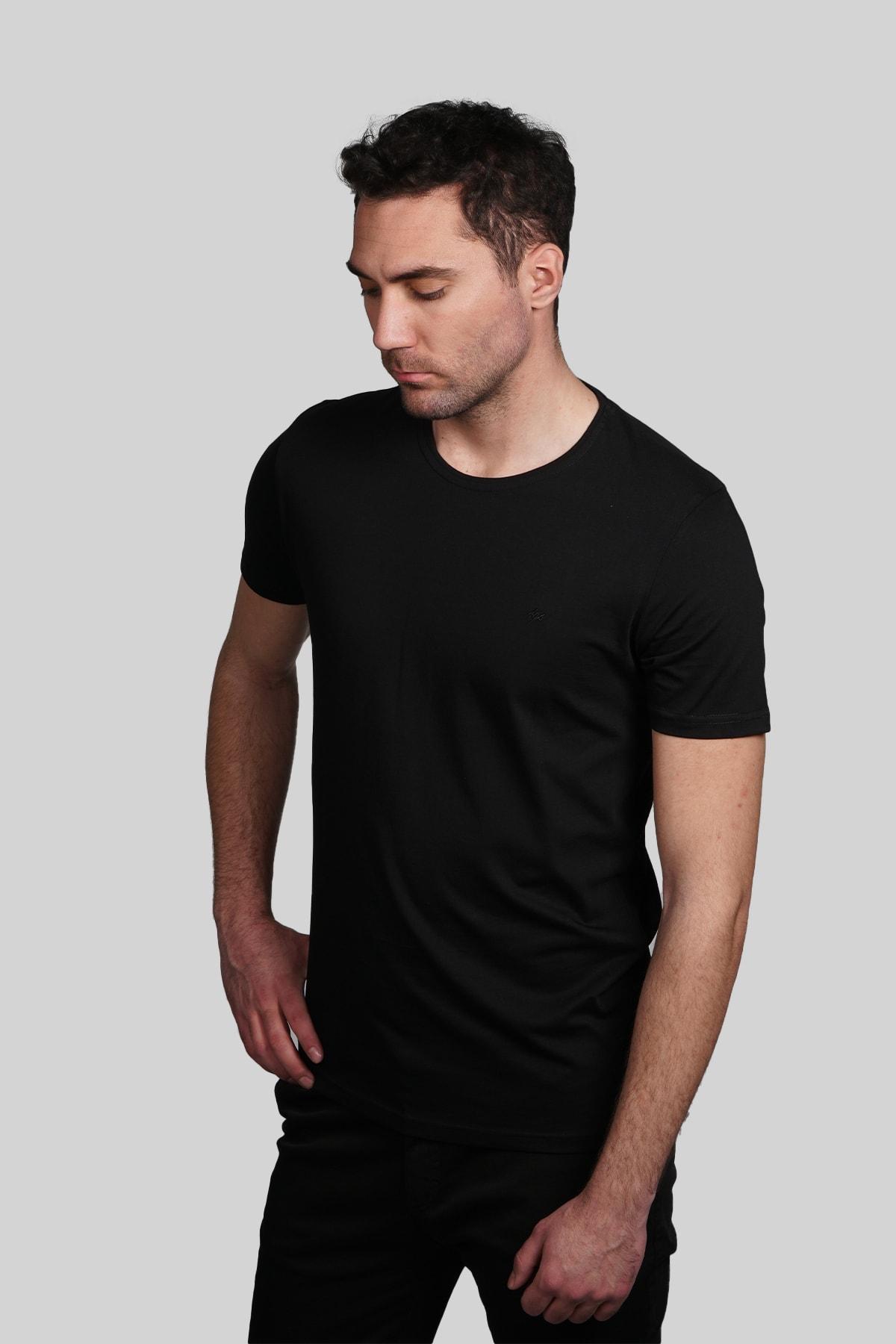 İgs Erkek Siyah Slim Fit Tişört