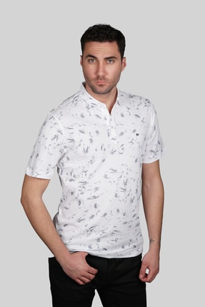 İgs Erkek Beyaz Modern Fit  Polo Yaka T-shirt 1