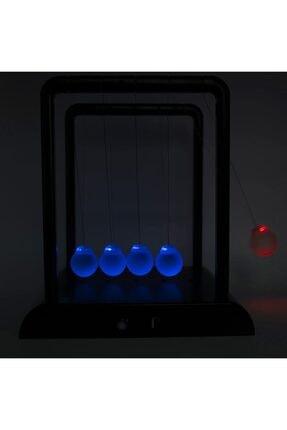 MOS'EV Newton's Cradle Light Up Mavi Işıklı Newton Topları 4