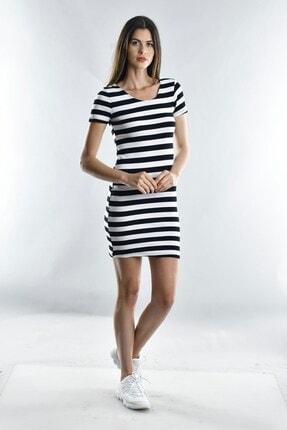 Cotton Mood Kadın Sıyah Beyaz Kalın Çizgili Kaşkorse Arkası Çapraz Biyeli Kısa Kol Elbise 0