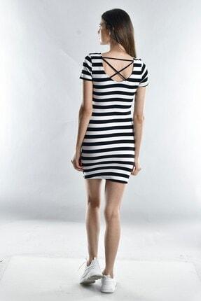 Cotton Mood Kadın Sıyah Beyaz Kalın Çizgili Kaşkorse Arkası Çapraz Biyeli Kısa Kol Elbise 2