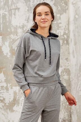Tommy Life Kadın Gri Melanj Klasik Kapüşonlu  Sweatshirt 0