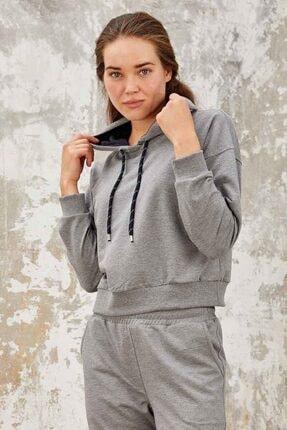 Tommy Life Kadın Gri Melanj Klasik Kapüşonlu  Sweatshirt 2