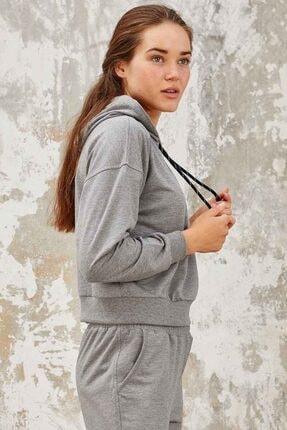Tommy Life Kadın Gri Melanj Klasik Kapüşonlu  Sweatshirt 3