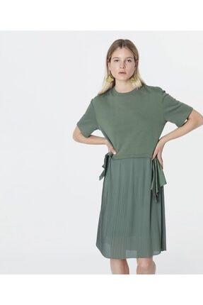 İpekyol Kadın Haki Kumaş Mixli Sweat Elbise 1