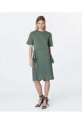 İpekyol Kadın Haki Kumaş Mixli Sweat Elbise 2