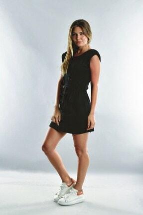 Cotton Mood Kadın Siyah Viskon Vatkalı Kısa Elbise 0