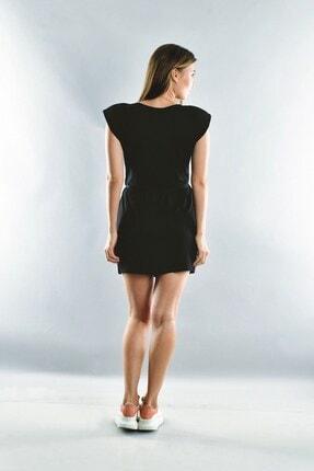 Cotton Mood Kadın Siyah Viskon Vatkalı Kısa Elbise 2