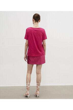 İpekyol Kadın Pembe V Yaka Basic Tişört 3